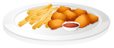 French fries, cutlet and sauce Stock Photography
