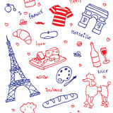 French symbols and icons seamless pattern Stock Image