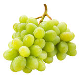 Fresh green grapes with drops Isolated on white Royalty Free Stock Photo