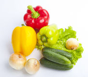 Fresh groceries on white background Royalty Free Stock Image