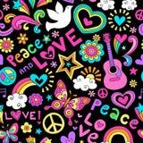 Friedens-und Liebes-nahtloses Muster-psychedelisches Gekritzel Lizenzfreies Stockbild
