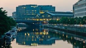 Friedrichstrasse Station in Berlin at dawn stock footage