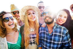 Friendship Bonding Relaxation Summer Beach Happiness Concept Stock Images