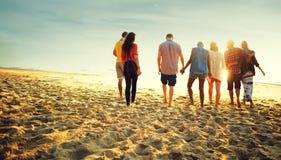 Friendship Bonding Relaxation Summer Beach Happiness Concept Stock Photos