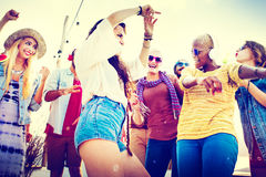 Friendship Dancing Bonding Beach Happiness Joyful Concept Stock Photo