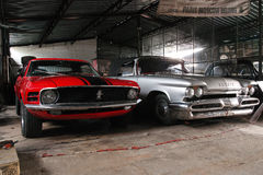 Front view, DeSoto 59 and Ford Mustang Stock Photography