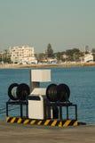 Fuel pump at a harbor Stock Photos
