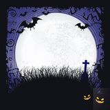 Full moon Halloween background with bats, cross and full moon Royalty Free Stock Photos