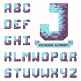 Full polygonal triangular alphabet. Trendy typeset in vector Stock Images