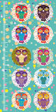 Fun colored owls on blue background Children height meter wall sticker, kids measure. Vector Royalty Free Stock Images