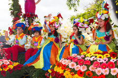 Funchal, Madeira - April 20, 2015: Children in floral costumes at the Flower Festival Parade, Funchal, Madeira, Portugal Stock Photos