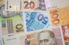 Fundo croata das cédulas do kuna da moeda Fotografia de Stock