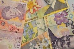 Fundo romeno da moeda da cédula dos leus Fotos de Stock Royalty Free