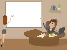 Funktionsdugligt tecknad filmbegrepp för kontor Arkivbild