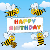 Funny Bees Happy Birthday Stock Photography