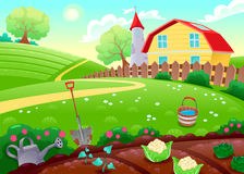 Funny countryside scenery with vegetable garden Royalty Free Stock Image
