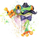 Funny frog T-shirt graphics. frog illustration with splash watercolor textured background. unusual illustration watercolor frog fa Royalty Free Stock Photos