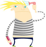 Funny guy with blowdryer and comb Royalty Free Stock Photography