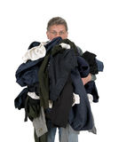 Funny Man Armload, Clothes, Dirty Laundry Isolated Royalty Free Stock Image