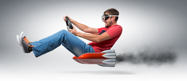 Funny man car driver with a wheel Royalty Free Stock Photo