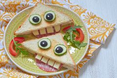 Funny sandwich for kids lunch Royalty Free Stock Images