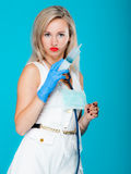 Funny sexy girl doctor nurse with syringe stethoscope Royalty Free Stock Image