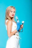 Funny sexy girl doctor nurse with syringe stethoscope Royalty Free Stock Photography