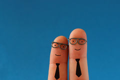 Funny smiling business men Royalty Free Stock Images