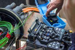 Fusion splicing machine, Fiber Optic Cable, Connectors, Terminat Stock Image