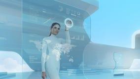 Future technology touchscreen interface. Stock Image