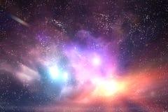 Galassia, cielo dello spazio Stelle, luci, fondo di fantasia Fotografie Stock Libere da Diritti