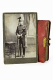 The gallant officer in an ancient photo Royalty Free Stock Images