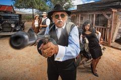 Gangster Shooting Machine Gun Royalty Free Stock Photos