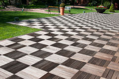 Garden wood pavement Royalty Free Stock Photo