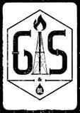 Gas und Öl Schwarz-weißes Retro- typografisches Schmutzindustrieplakat Auch im corel abgehobenen Betrag Stockbilder