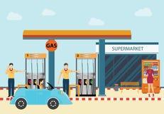 Gaserdöltreibstoffnachfüllungsstationsautos und -kunden Lizenzfreie Stockfotografie