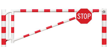 Gated Road Barrier Closeup, Octagonal Stop Sign, Roadway Gate Bar Bright White Red Traffic Entry Stop Block Vehicle Security Point Stock Photos