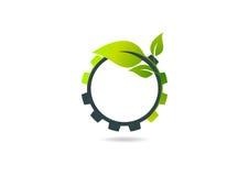 Gear Leaf, plant gear vector logo design Stock Photos