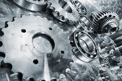 Gears, cogs and bearing engineering parts Royalty Free Stock Photo