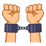Gefangengenommene Hände verkettet mit der Handschelle Stockfotografie