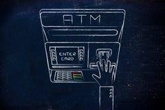 Geldautomat mit der Hand, die Kreditkarte einfügt Stockfotos