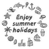Genießen Sie Sommerferien Strandikonen eingestellt Lizenzfreies Stockfoto