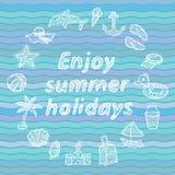 Genießen Sie Sommerferien Strandikonen eingestellt Stockfotografie
