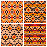 Geometric ethnic aztec mexican seamless patterns Royalty Free Stock Photo