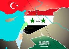 Geopolitische Karte Syriens mit vorgeschlagener Ölpipeline Lizenzfreies Stockbild