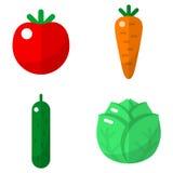 Geplaatste groenten vlakke pictogrammen Royalty-vrije Stock Foto's