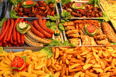 German wurst with  french fries Royalty Free Stock Photos