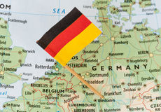 Germany flag on map Stock Photography