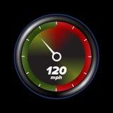 Geschwindigkeitsmesser mit schwarzem Hintergrund Stockfotos