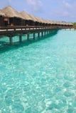 Getaway Island Holiday on Overwater Bungalow Stock Photo